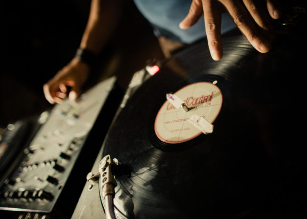 Turntables being played